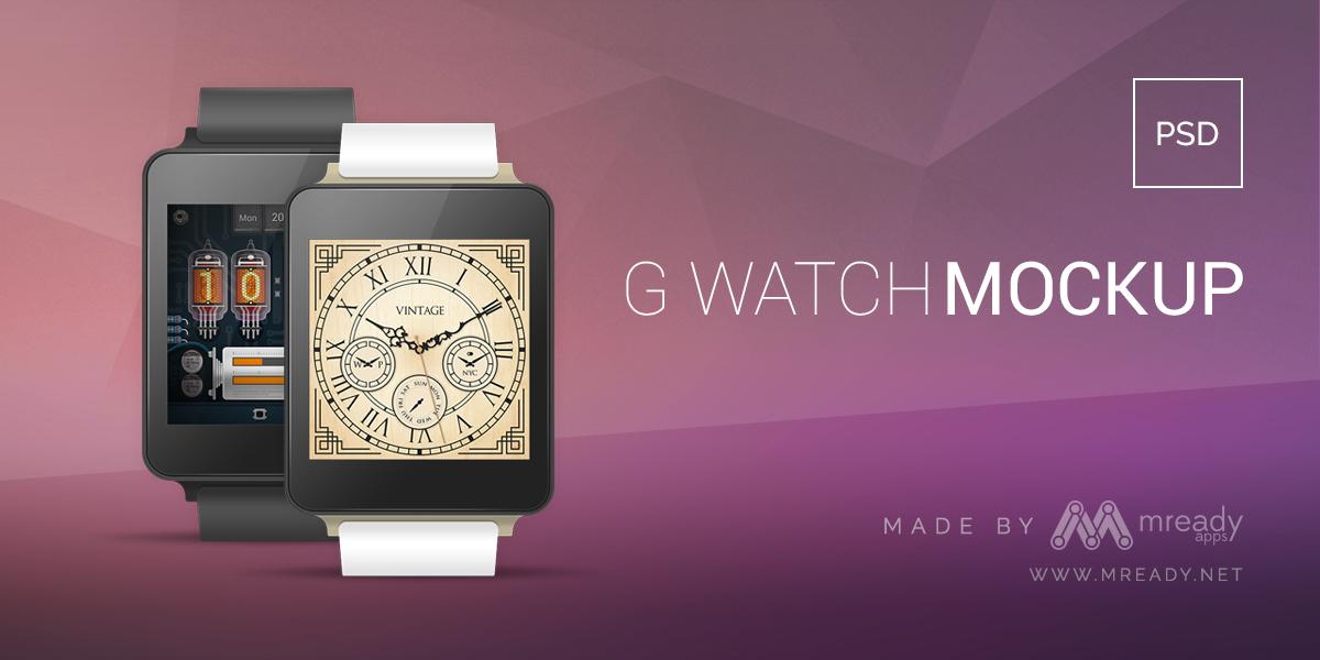 G Watch Free PSD Mockup