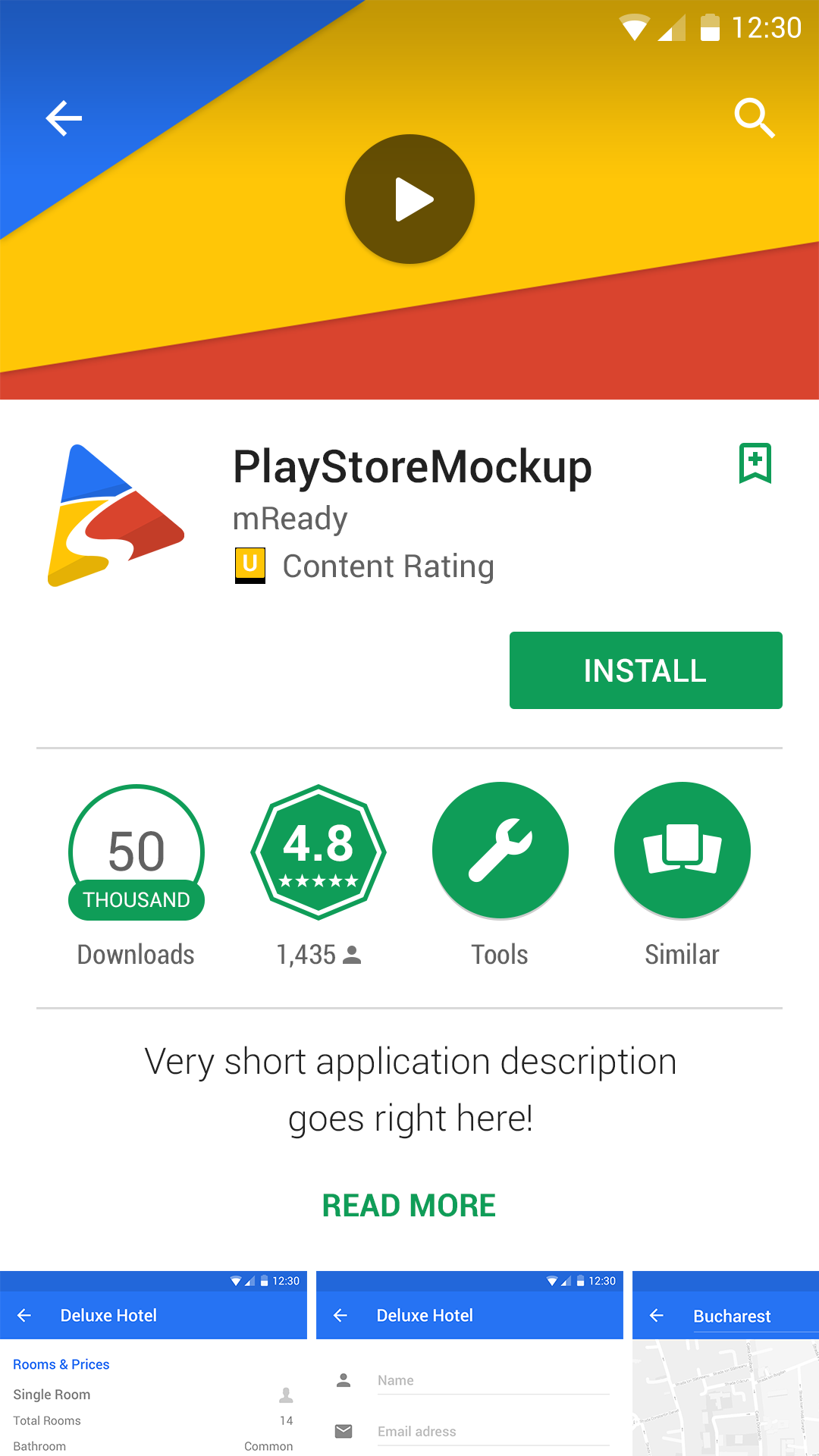 Play Store Mockup Application